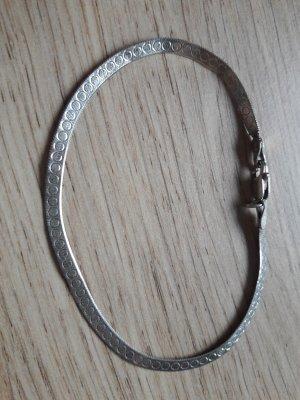 925er Silber Armband flach mit geometrischer Mustergravur 19cm