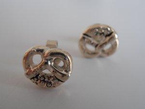 925er Silber Ohrstecker in Form kleiner Brezeln