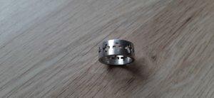 925er Silber Ring matt mit Kreuzen breit eckig Gr. 54
