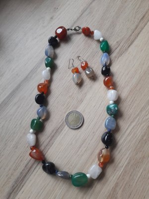 925er Silber Schmuckset Kette Ohrringe Naturstein Halbedelstein organe hellblau grün schwarz weiß