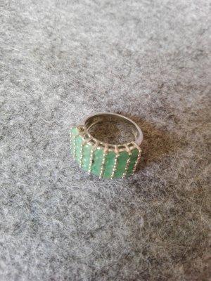 Bague incrustée de pierres argenté-vert menthe