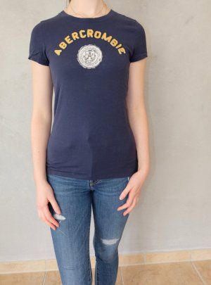 Abercrombie & Fitch T-Shirt dark blue-yellow cotton