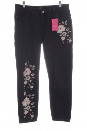 A & G Straight Leg Jeans black flower pattern casual look