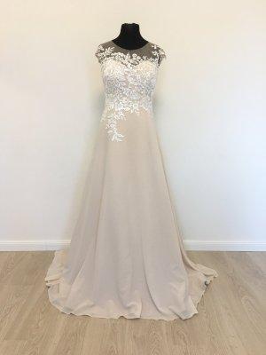 A-Linie Bohemian Vintage Style Brautkleid Hochzeitskleid Verlobungskleid Gr. 42 Nude/Weiß