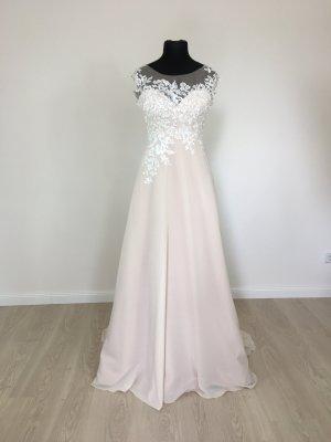 A-Linie Boho Vintage Style Brautkleid Hochzeitskleid Verlobungskleid Gr. 38 Weis/Nude