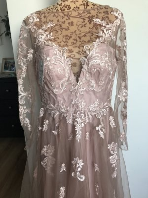 A-Linie Tüll Spitze Applikation Langärmelig Kleid