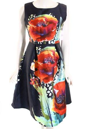 A-Linien Kleid dunkelblau-rot abstrakter Druck Elegant
