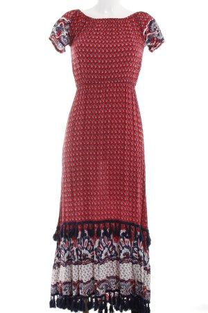 A-Linien Kleid rot-dunkelblau abstrakter Druck Boho-Look