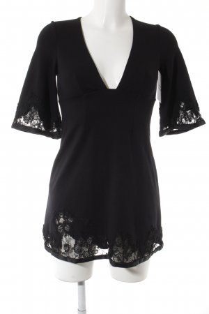 A-Linien Kleid schwarz florales Muster Party-Look