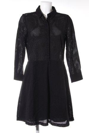 A-Linien Kleid schwarz Lochstrickmuster Casual-Look