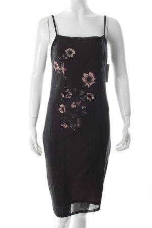 A-Linien Kleid schwarz-rosé Motivdruck schlichter Stil