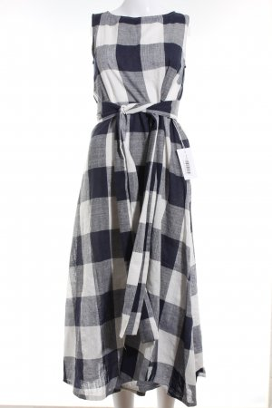 A-Linien Kleid weiß-dunkelblau Karomuster Casual-Look