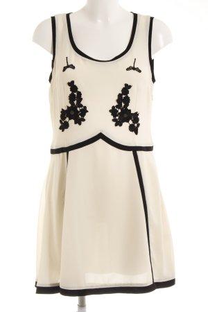 Vestido línea A blanco puro-negro estampado floral elegante