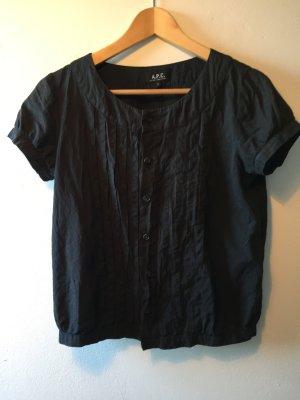 A.P.C. Bluse schwarz * APC Paris * kurzärmlig * Größe S