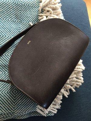 A.P.C. Sac bandoulière brun noir cuir