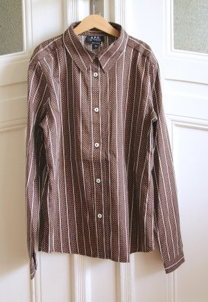 A.P.C. Shirt Blouse natural white-grey brown cotton