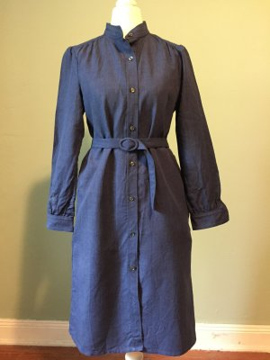 A.P.C. Shirtwaist dress blue-dark blue linen
