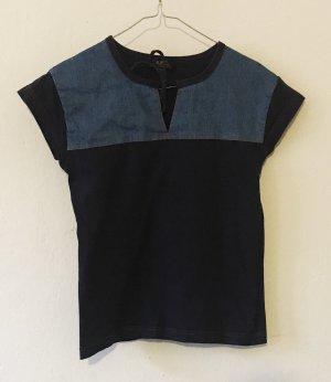 A.P.C. Camicia a maniche corte blu scuro-blu Cotone