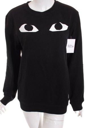 a question of Sweatshirt schwarz-weiß Motivdruck Casual-Look