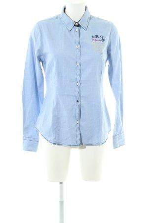 A.R.Q. Camisa de manga larga azul look casual