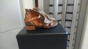 Airstep Strapped High-Heeled Sandals light brown leather