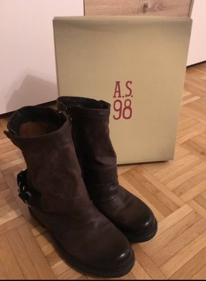 A.S.98 Booties dark brown-black leather
