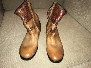 A.S.98 Zipper Booties brown-cognac-coloured leather
