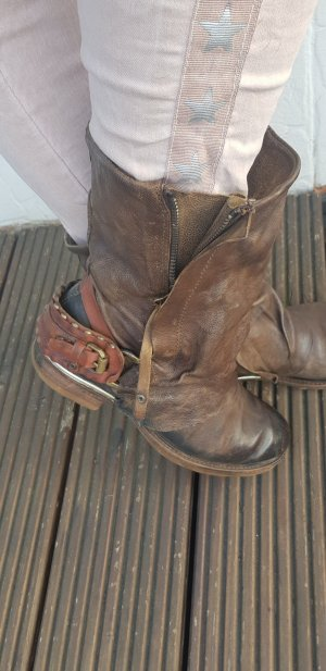 A.S.98 Booties brown-dark brown leather