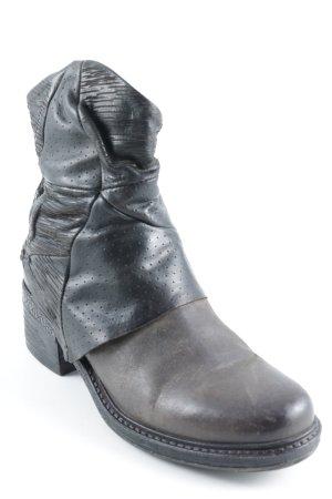 A.S.98 Reißverschluss-Stiefeletten schwarz-schwarzbraun Country-Look
