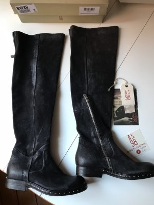 A.S.98 Kniehoge laarzen zwart-antraciet Suede