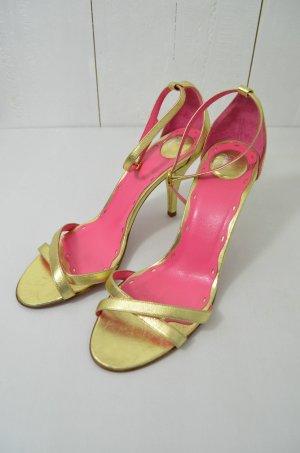 AA Milano Damen Sling-Pumps Pumps Riemchen Leder Gold Pink Gr.37,5