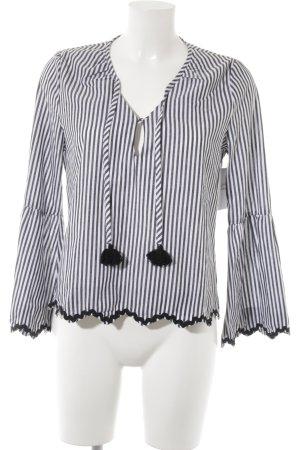 Aaiko Slip-over blouse zwart-wit gestreept patroon casual uitstraling