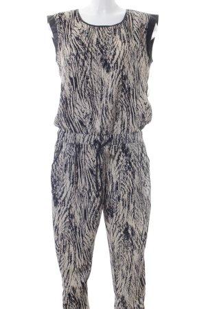 Aako Jumpsuit creme-schwarz Farbtupfermuster Business-Look