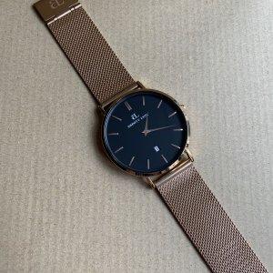 Montre avec bracelet métallique or rose-noir