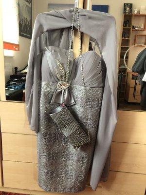 Abend Kleid mit passende Tasche und Schmuck, grau/Silber, Neu , grS/M