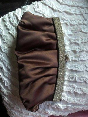 Bolso de mano color plata-marrón oscuro