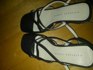 Martinez Valero Wedge Sandals black leather