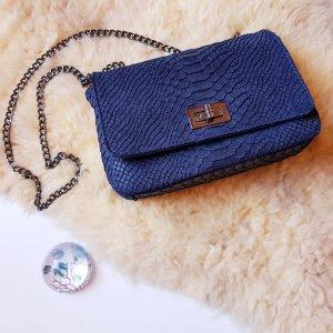 Abendhandtasche aus blauem Reptilleder