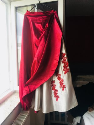 Corsage Dress red-white