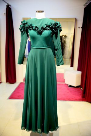 Vestido de noche verde bosque-verde oscuro