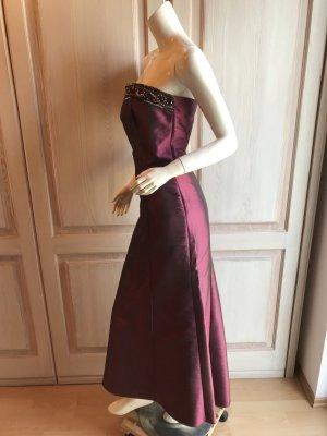 Abendkleid Abiball lang 36 rot schwarz bordeauxrot mit Seide top Bandau