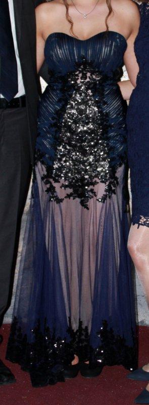 Abendkleid Abiballkleid Blau Herzausschnitt Trägerlos