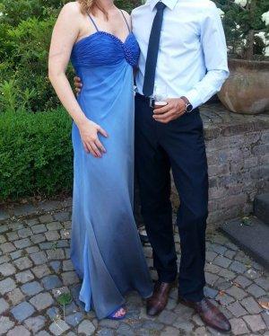 Abendkleid aus blauem Chiffon mit Farbverlauf