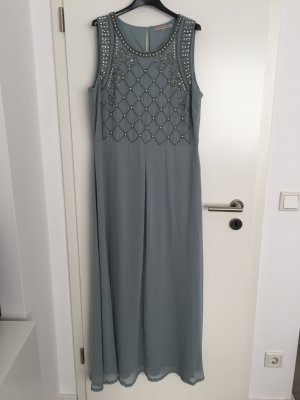 Abendkleid aus Chiffon, graugrün mit Perlenapplikationen
