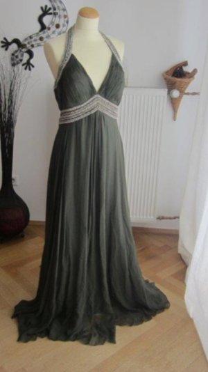 Abendkleid aus grüner Wildseide