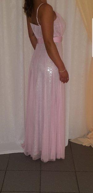Ashley Brooke Vestido de noche color plata-rosa