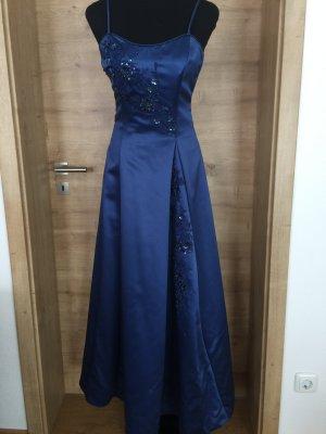 Abendkleid Ballkleid blau Perlen Stickerei Gr 34