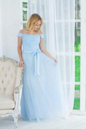 Abendkleid Ballkleid Blau Tüll Schleife XS 34 Kleid