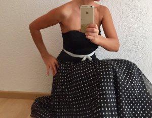 Abendkleid Ballkleid Kleid Gr. 34 / XS Polka Dots Rockabilly Schwarz Weiß top!