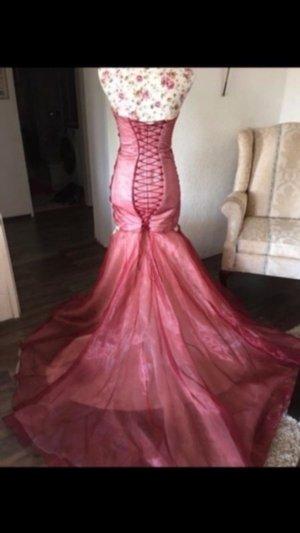 Veronika Breit Couture Vestido de noche crema-rojo oscuro